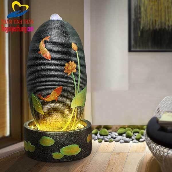 Trang trí nội thất với thác nươc phong thủy cá chép Vườn sen