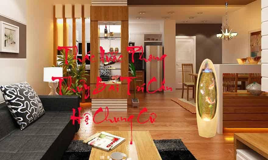 Phòng Khách căn Hộ chung cư cao cấp Được bài trí thác nước phong thủy cá chép VỜN SEN