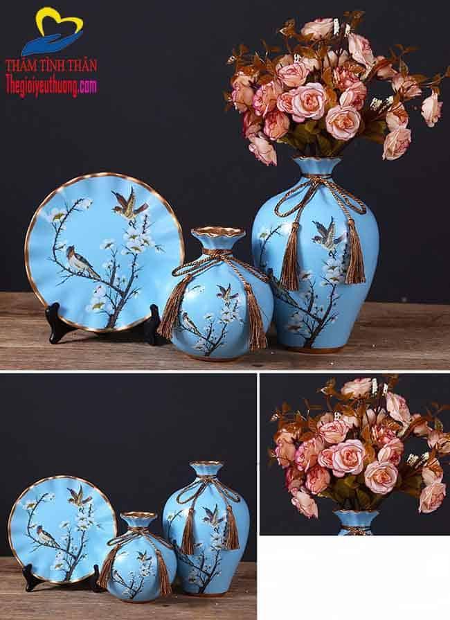 Bộ bình hoa trang trí Phòng Khách Hoa Mơ Trắng Tuyệt Đẹp