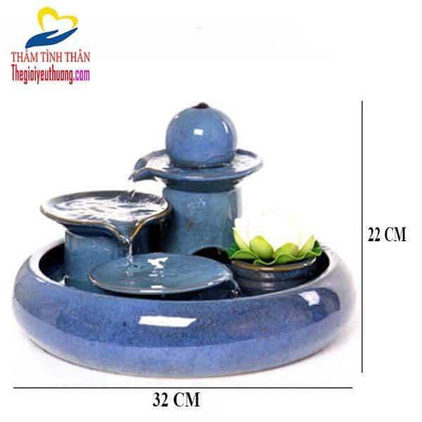 Kích thước đài phun nước Để bàn Gốm Sứ Dương Lá
