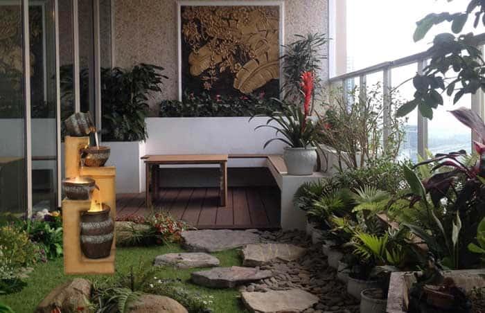 Sân vườn và thác nước, sự hòa hợp đầy sáng tạo cho không gian tuyệt đẹp