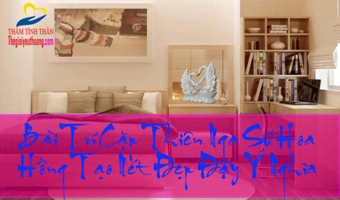 Bài trí phòng ngủ với Đôi thiên Nga hoa Hồng Sứ