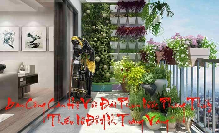 Sân vườn nhỏ và đài phun nước cho không gian tươi mới