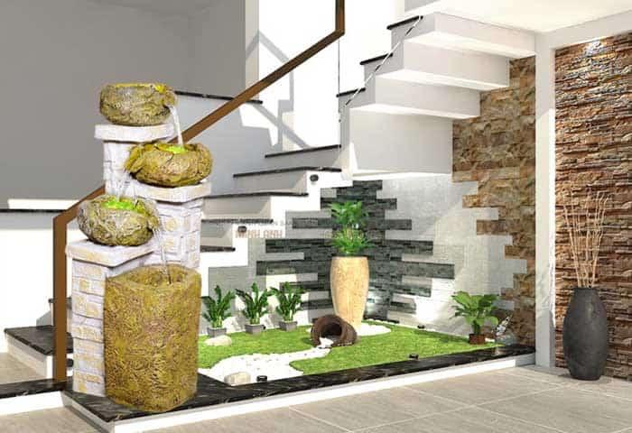 Kiến tạo không gian Vườn Cầu thang phòng khách với thác nước, đài phun nước phong thủy