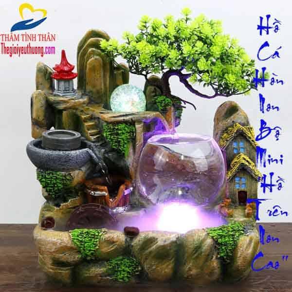 """Hồ Cá Hòn Non Bộ Mini Phong Thủy """"Hồ Trên Non Cao"""""""