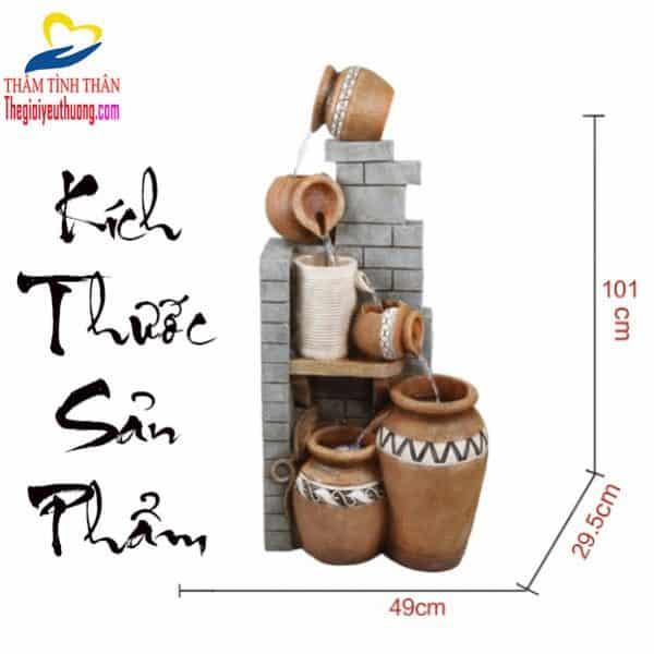 """Kích thước Tiểu Cảnh Thác Nước Trong Nhà """"Ngũ Chum Phú Quý"""""""