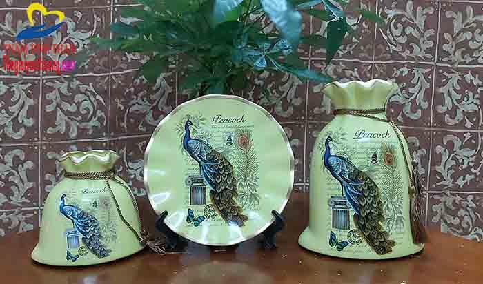 Bộ đồ gốm sứ trang trí phòng khách HỌA TIẾT CHIM CÔNG