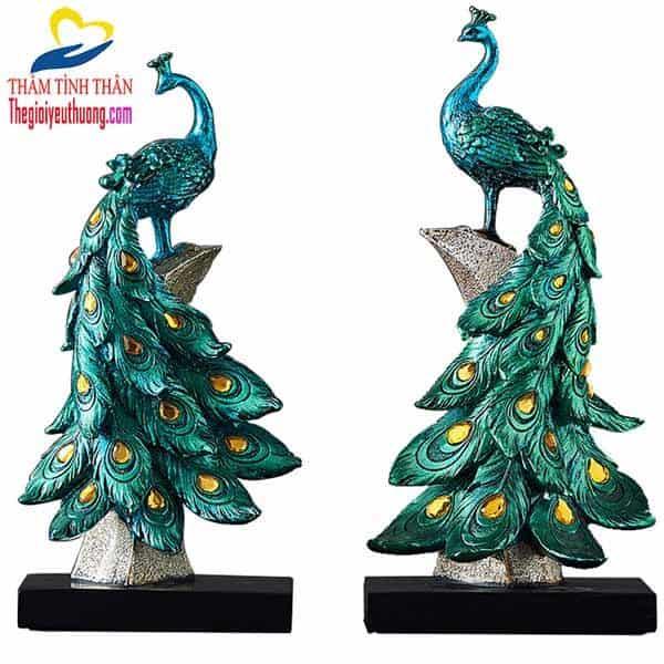 Bộ chim công phong thủy màu xanh tuyệt đẹp