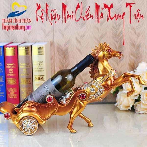 Kệ Rượu Mini CHIẾN MÃ XUNG TRẬN – Vật Phẩm Phong Thủy Độc Đáo