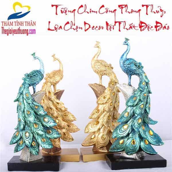 Bộ tượng chim công phong thủy Độc Đáo