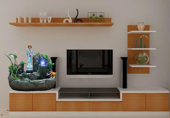 Trang trí kệ tivi phòng khách với tiểu cảnh hòn non bộ mini phong thủy