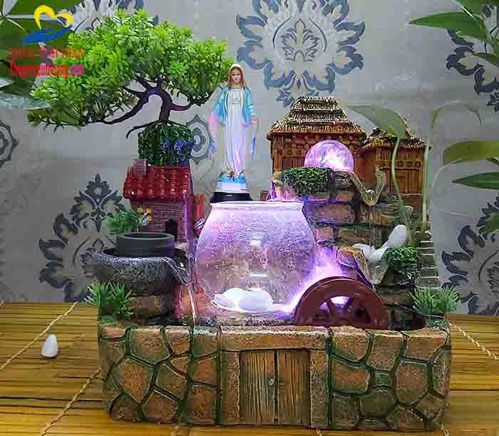 Bài trí Tượng Đức mẹ Tạo Nét Linh thiêng cho Non bộ thác nước mini Ngôi Nhà Trên Thảo Nguyên