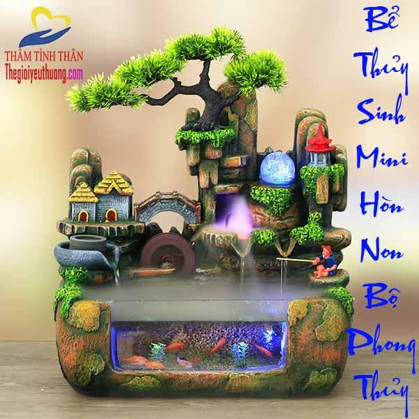 Bể Thủy Sinh Mini Phong Cảnh Thác Nước Bồng Lai Tiên Cảnh