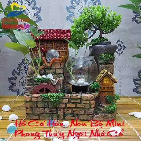 """Thác nước hồ cá mini Phong thủy """"Nhà Trên Thành Cổ"""""""