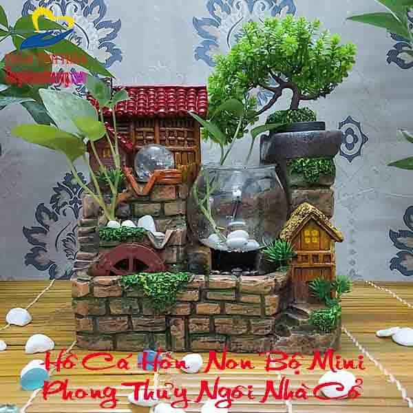 Hồ Cá Hòn Non Bộ Mini Ngôi Nhà Trên Thành Cổ – Nét Phong Thủy Huyền Bí
