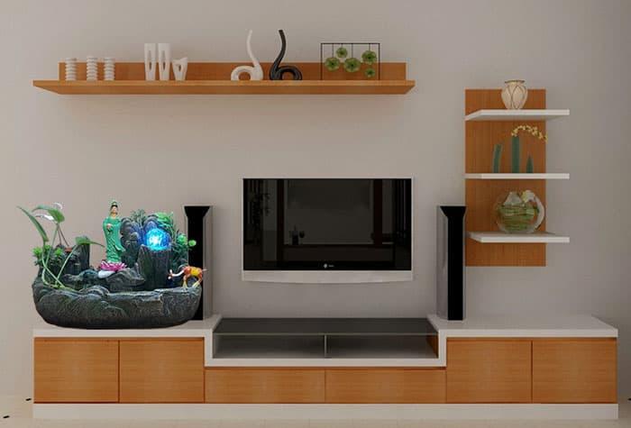 Trang trí kệ tivi phòng khách với tiểu cảnh non bộ mini