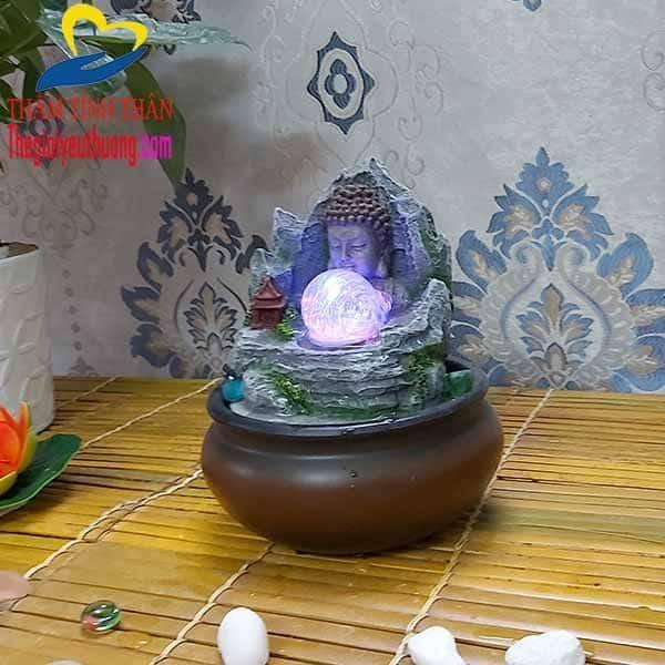 Thác nước mini để bàn Kết Hợp Tượng Phật Thíc Ca Nhỏ