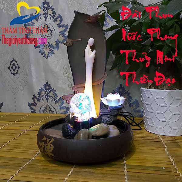 Đài Phun Nước Phong Thủy Mini để bàn Thiền Đạo- Không Gian Thiền Độc Đáo