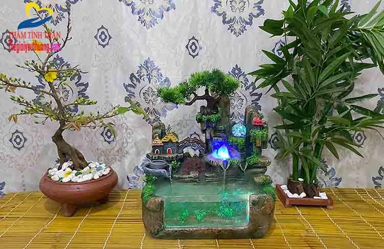 Hòn non bộ bể cá mini Phong thủy Bồng Lai Tiên Cảnh