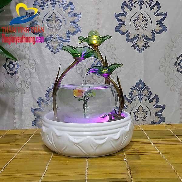 Bể Thủy Sinh Mini Nuôi Cá Để Bàn - Thác Nước Phong Thủy Độc Đáo
