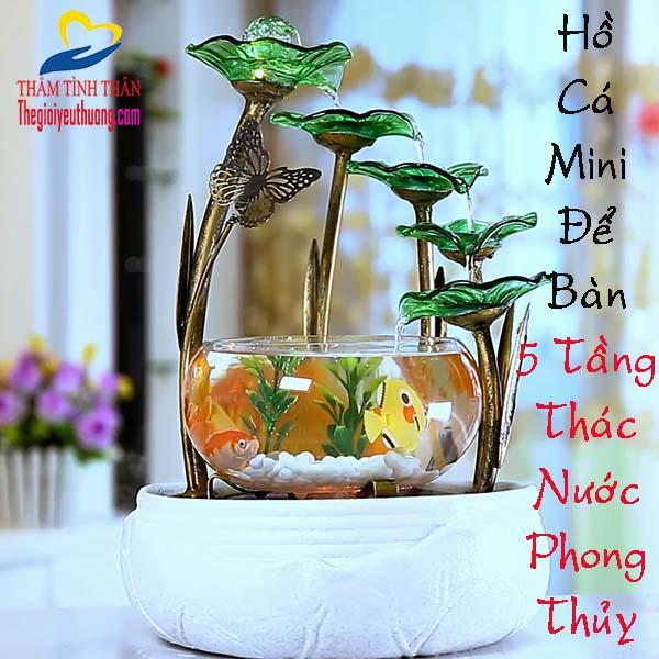 Hồ Cá Mini Để Bàn Phong Thủy 【5 TẦNG THÁC ĐỔ】