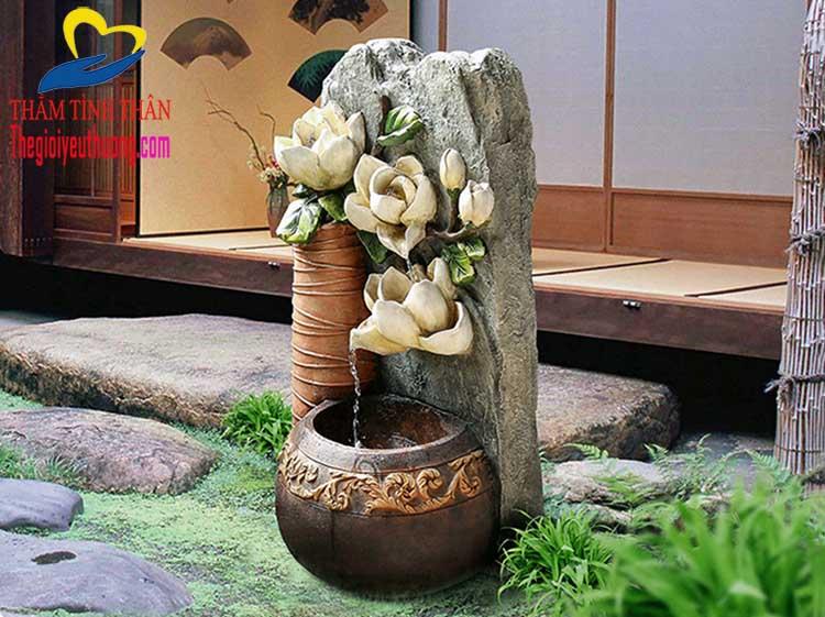 Tiểu Cảnh Thác Nước Mini Phong Thủy Bông Hồng Đá Tô điểm Cho KHông gian sân vườn tuyệt đẹp