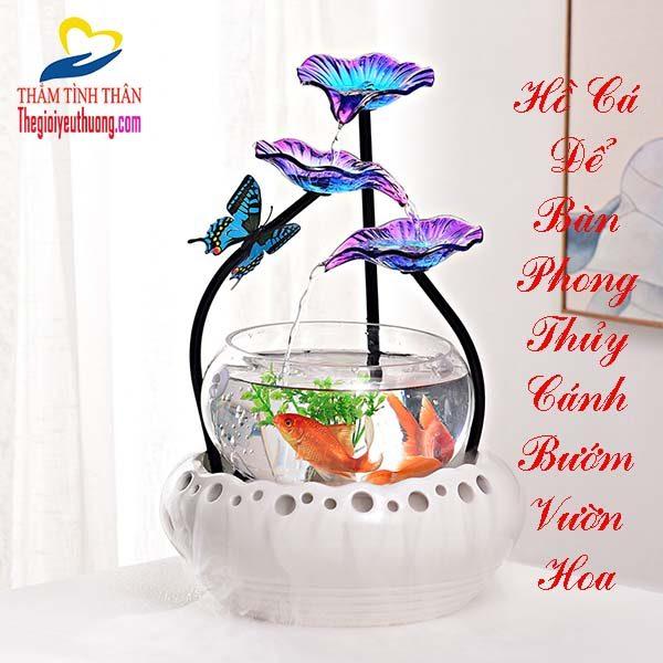 【 Hồ Cá Để Bàn Thủy Tinh Phong Thủy】 Cánh Bướm Trong Vườn Hoa