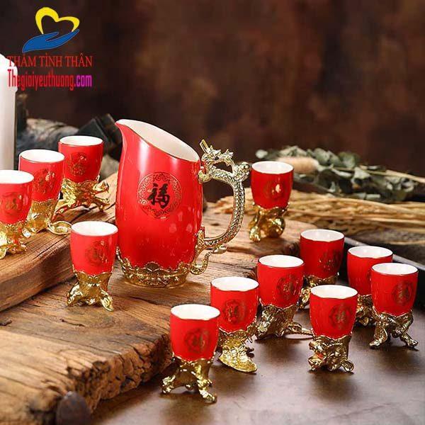 Ly 12 con giáp Gốm sứ Sắc Đỏ đẹp