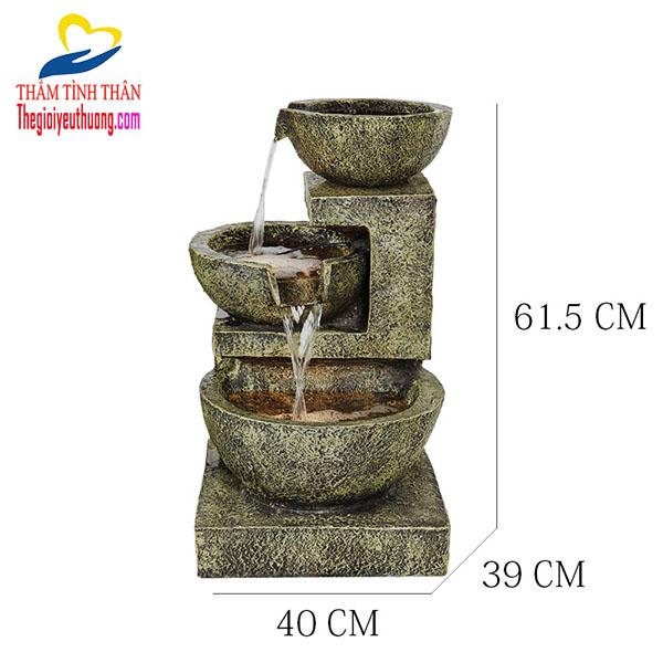 Kích thước thác nước phong thủy Cối đá cổ điển