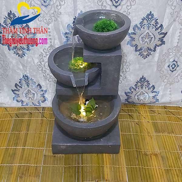 Tổng quan thác nước phong thủy Mini Cối đá cổ điển