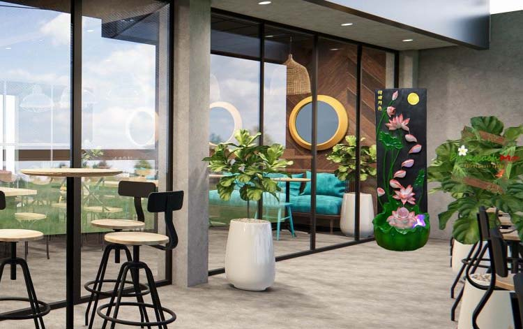 Không gian cafe thêm quyến rũ với thác nước phong thủy tường sen