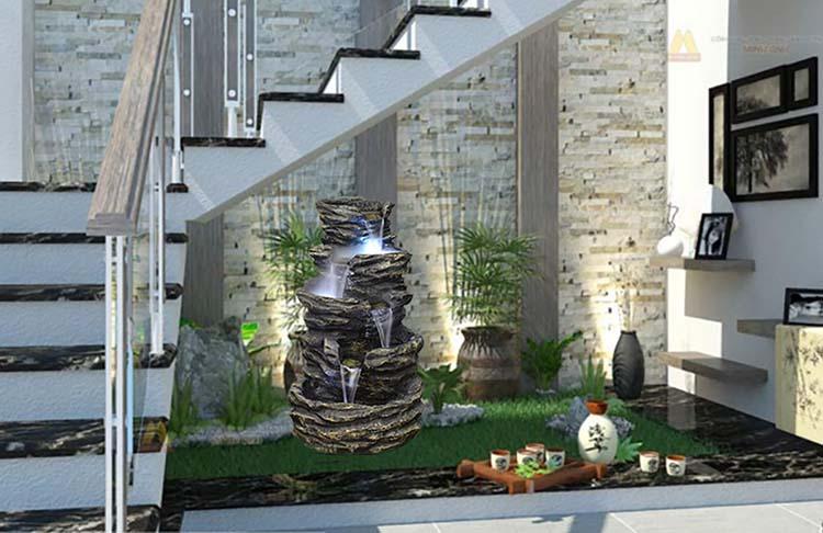 Tiểu cảnh giếng trời cầu thang nhà Phố hiện đại